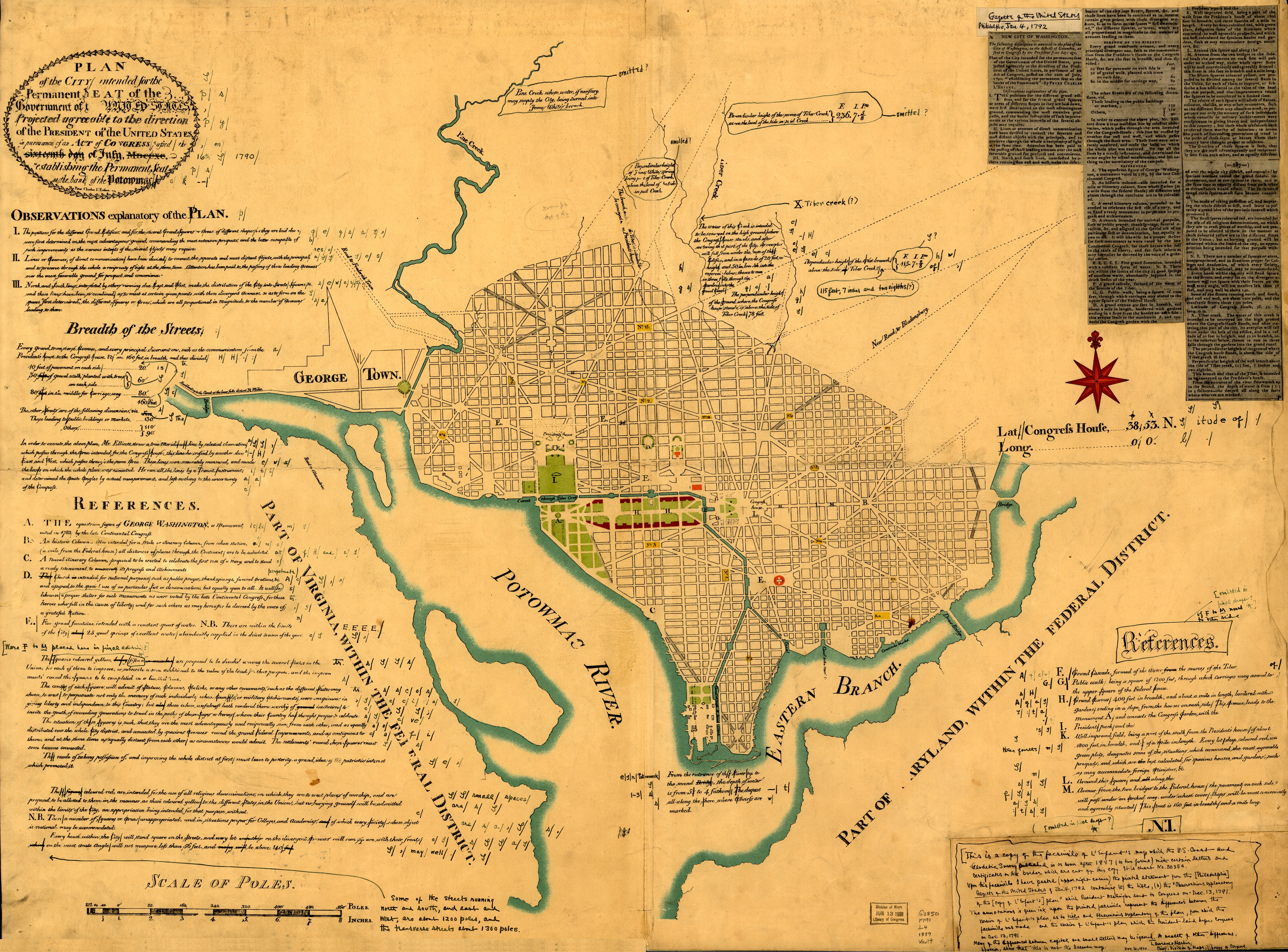 Early plan of the City of Washington with details on the Congressional approval of July 16, 1790, and debates in January 1792.