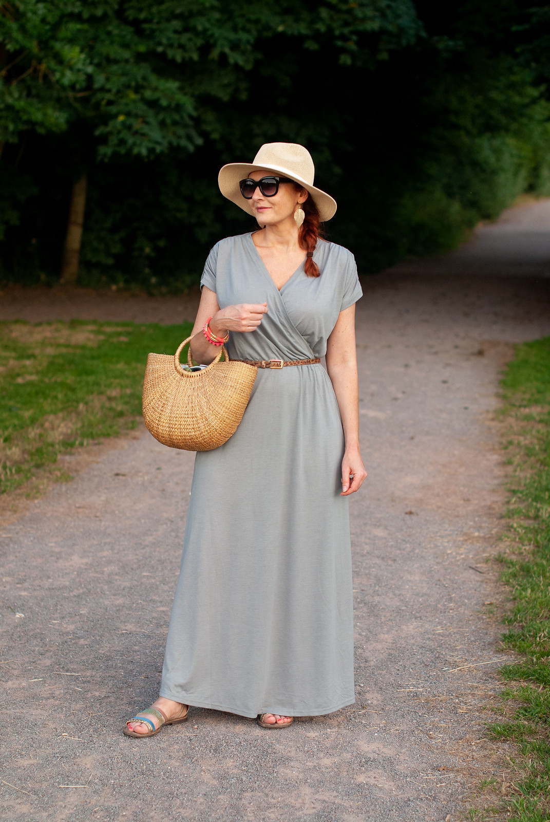 How to Keep Cool in the Summer and Still Cover Up \ grey Hot Squash maxi dress with CoolFresh fabric \ floppy straw hat \ straw basket bag \ black cat eye sunglasses \ strappy flat sandals | Not Dressed As Lamb, over 40 fashion