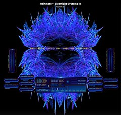 """Rainmeter Skin-BlueNight Systems III This is my latest personal Rainmeter Skin. It's similar to """"BlueSkin 29"""", but I like the new design of the backgrounds I made for all of the graphs. The large Fractal wallpaper is also of my design."""