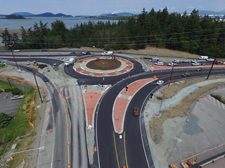 Construction on the SR 20 SR 20 Spur roundabout.