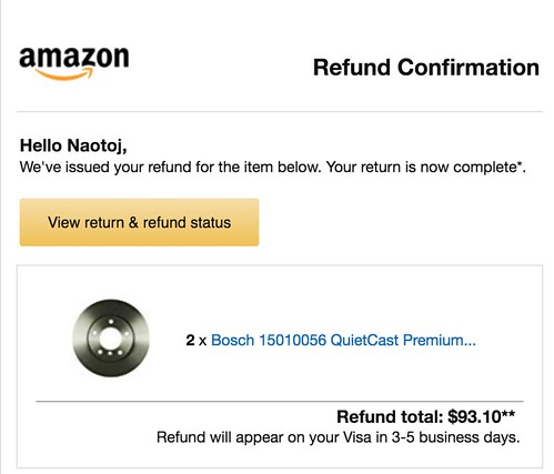 Refund issued the same day