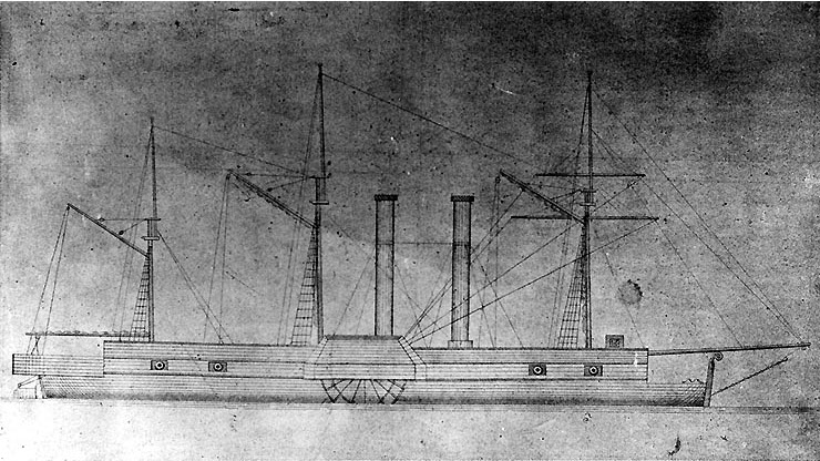 Drawing of USS Fulton as originally built in 1837. Original held at the Smithsonian Institution, from the Skerritt Collection, Bethlehem Steel Corporation Archive.