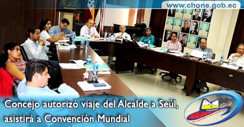 Concejo autorizó viaje del Alcalde a Seúl, asistirá a Convención Mundial