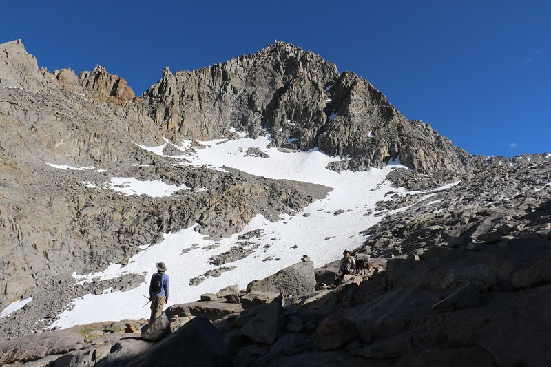 Mount Gayley is the dominant fixture of the Palisade Glacier Trail as it stays on the east side of some moraine