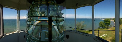 sodus point lighthouse ny new york lake ontario fresnel lens water sea beach great lakes panorama