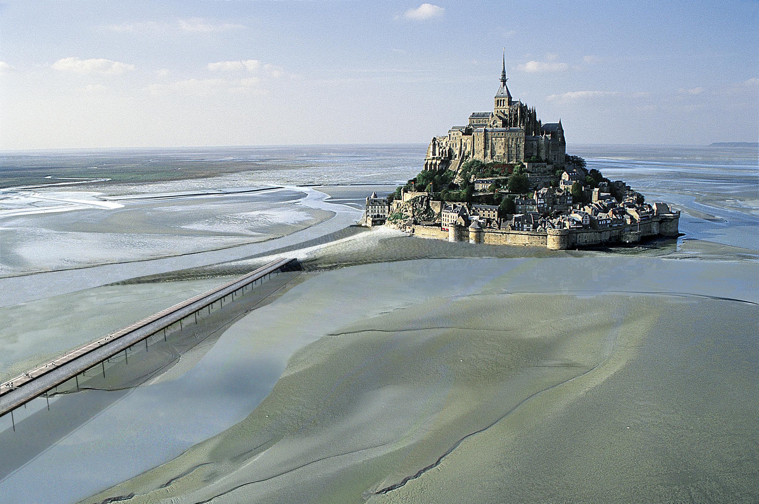 View of Mont Saint-Michel showing the new bridge.