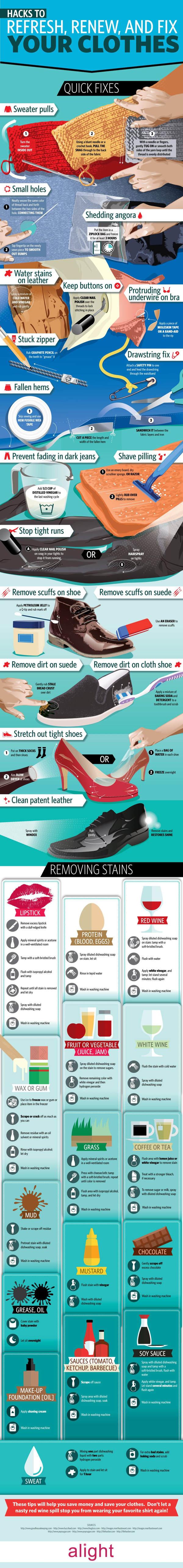 Consejos para actualizar, renovar y arreglar la ropa infografia