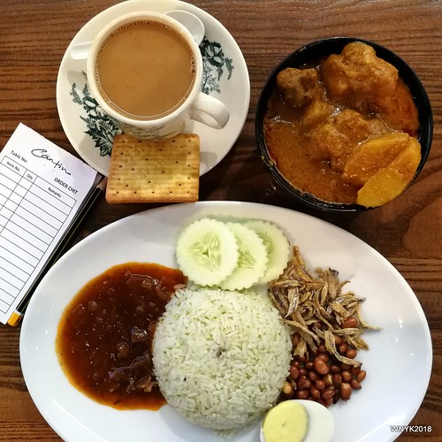 Nasi Lemak and Curry Chicken