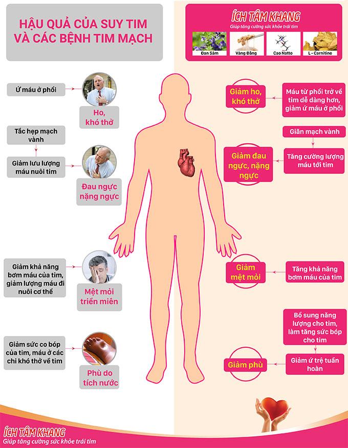 Cơ chế của Ích Tâm Khang giúp làm giảm khó thở, ho, mệt, đau ngực, phù do tim