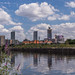 View towards Manchester city centre, over the Ship Canal / River Irwell