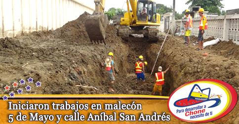 Iniciaron trabajos en malecón 5 de Mayo y calle Aníbal San Andrés