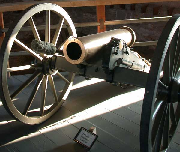 A 12 pounder mountain howitzer on display at Fort Laramie in eastern Wyoming.