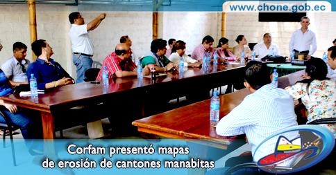 Corfam presentó mapas de erosión de cantones manabitas