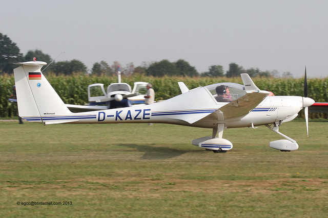 D-KAZE - 2000 build Diamond HK36 TC Super Dimona, arriving at Tannheim during Tannkosh 2013