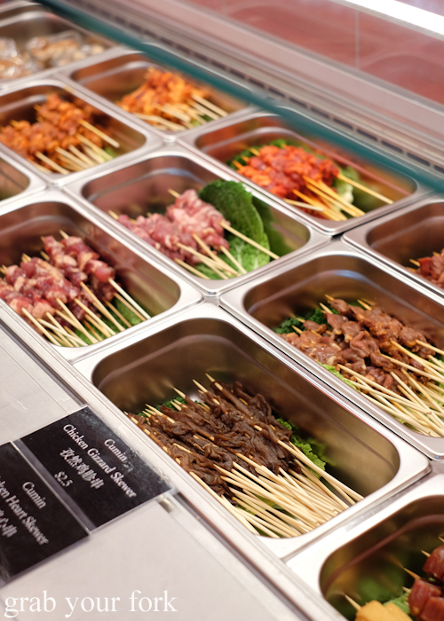 Self-serve chuan skewers at Granny Wolf BBQ in Central Park Mall Sydney
