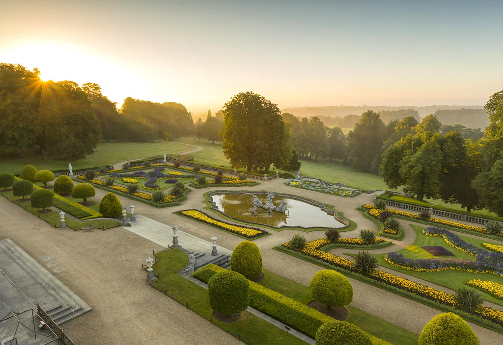 Waddesdon Manor parterre at sunrise. Credit Chris Lacey