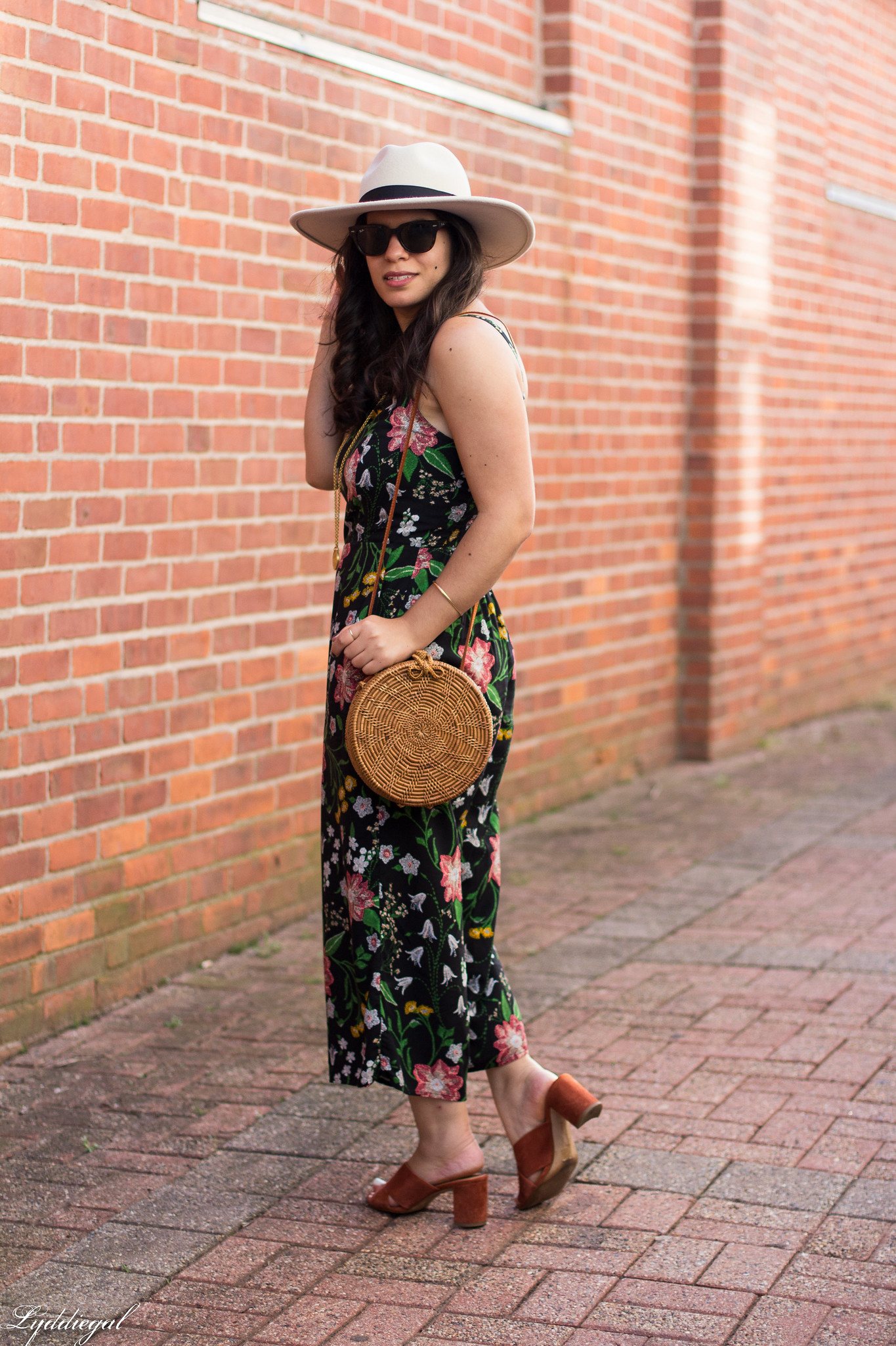 black floral jumpsuit, rust mules, cream fedora, straw bag-2.jpg