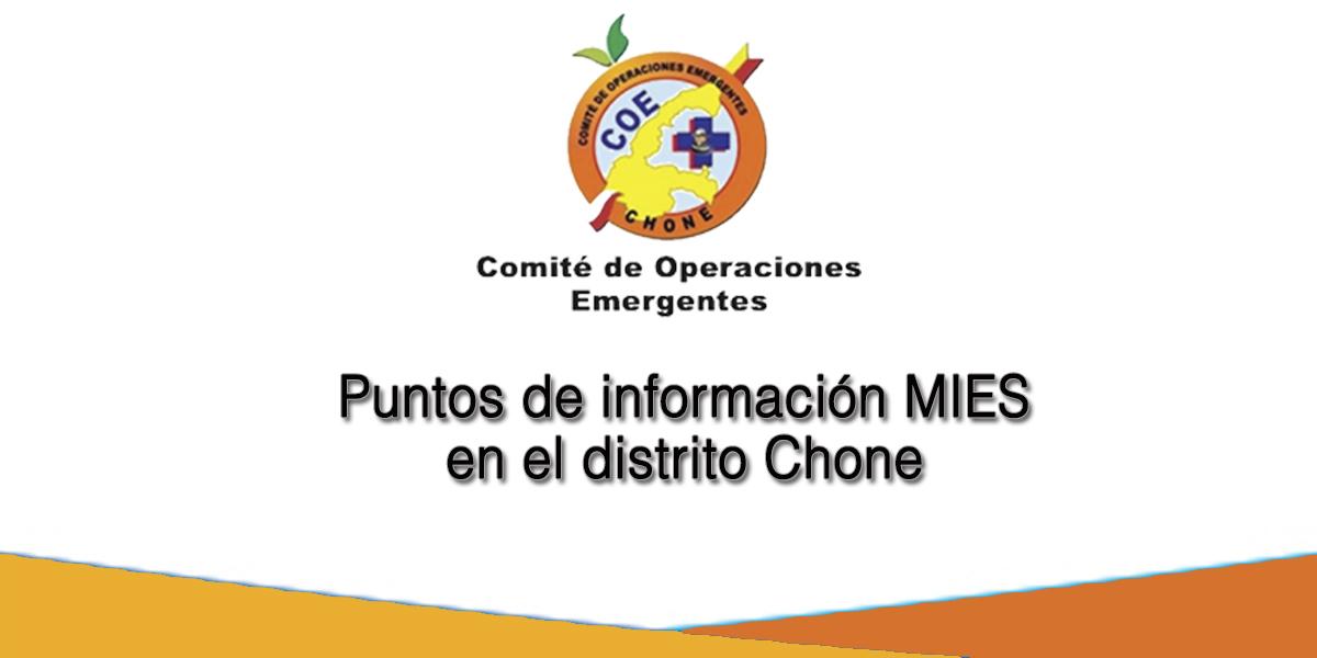Puntos de información MIES en el distrito Chone