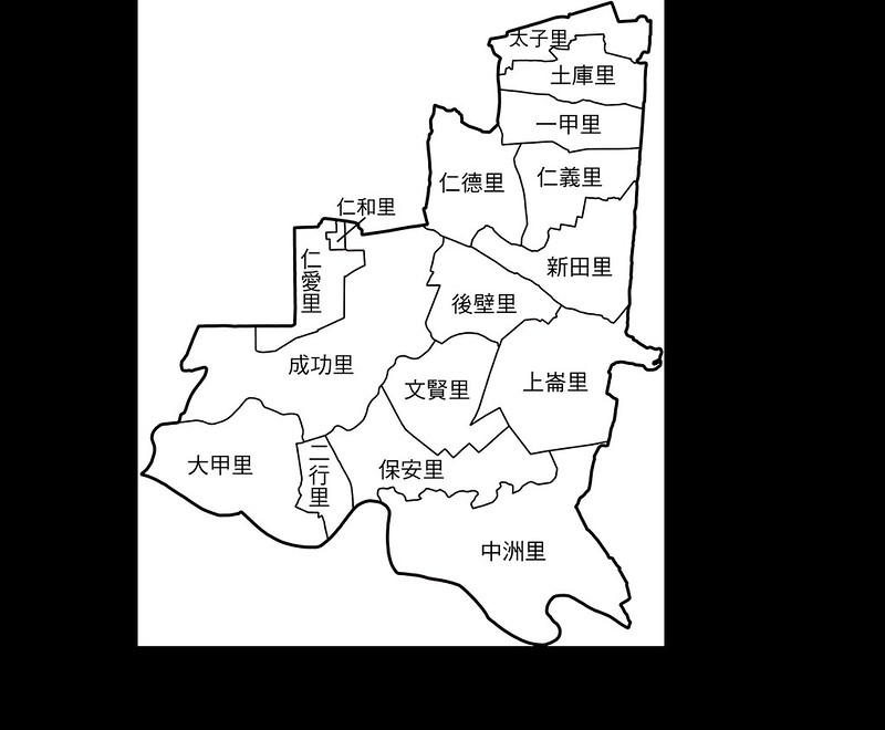 臺南市仁德區行政區地圖-16里-有里名無底色