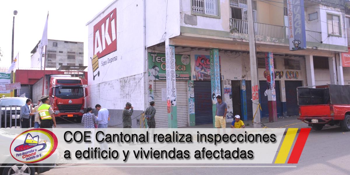 COE Cantonal realiza inspecciones a edificio y viviendas afectadas