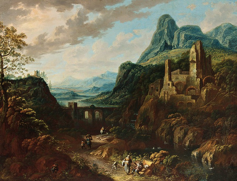 Johann Christian Vollerdt - An Italianate river landscape with travellers
