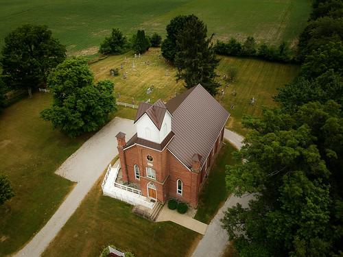 dji djispark evangelical lutheran missourisynod salem aerialphotography architecture building church drone flying outdoor overcast summer