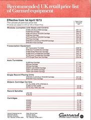 Garrard Price List 010473