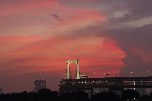 Sunset at Tokyo Rainbow Bridge