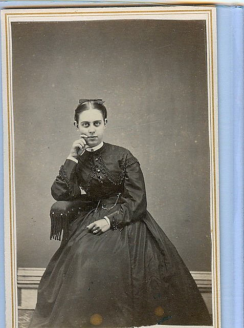 Woman posed with hand on her face cdv