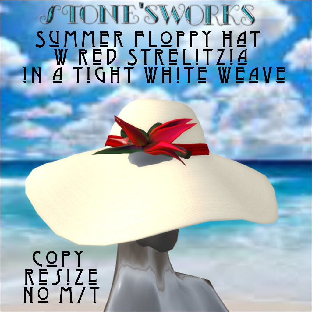 Summer Floppy Hat Wht Wv Rd Strelitzia Stone's Works - TeleportHub.com Live!