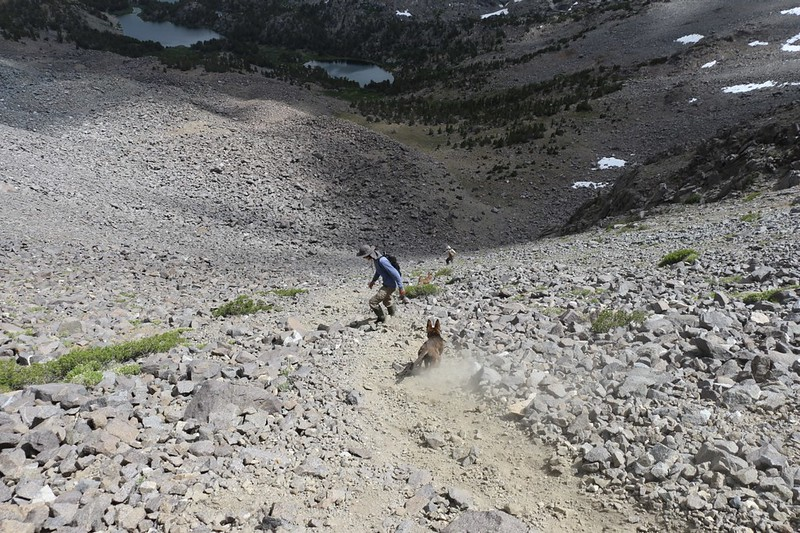 Shoe-skiing the scree slope with plenty of dust - we were having a great time
