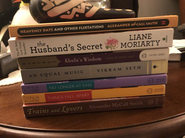 My stash of books from the Used Book Store called Re-Reads in Crofton, MD. All for under $30. Quite a steal!