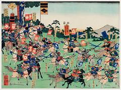 Kawanakajima no Kassen by Utagawa Kuniyoshi (1798-1861), a woodcut diptych of battle at Kawanakajima, showing two armies of cavalry in a battle with swordsmen and archers on horseback. Digitally enhanced from our own original edition.