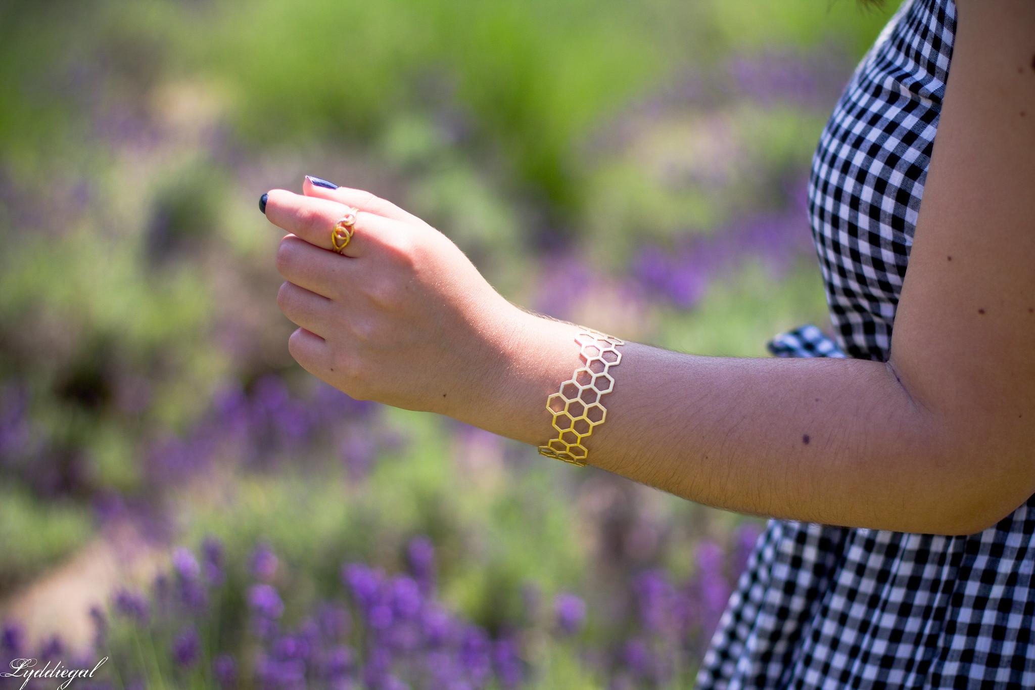 gingham maxi dress, pinata tote bag, lavender field-16.jpg