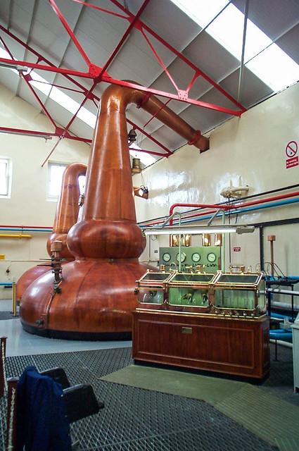 Spirit stills and spirit safe of Glenfarclas Distillery