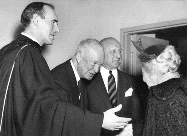 Rev. Dr. George MacPherson Docherty (left) and President Eisenhower (second from left) on the morning of February 7, 1954, at the New York Avenue Presbyterian Church.