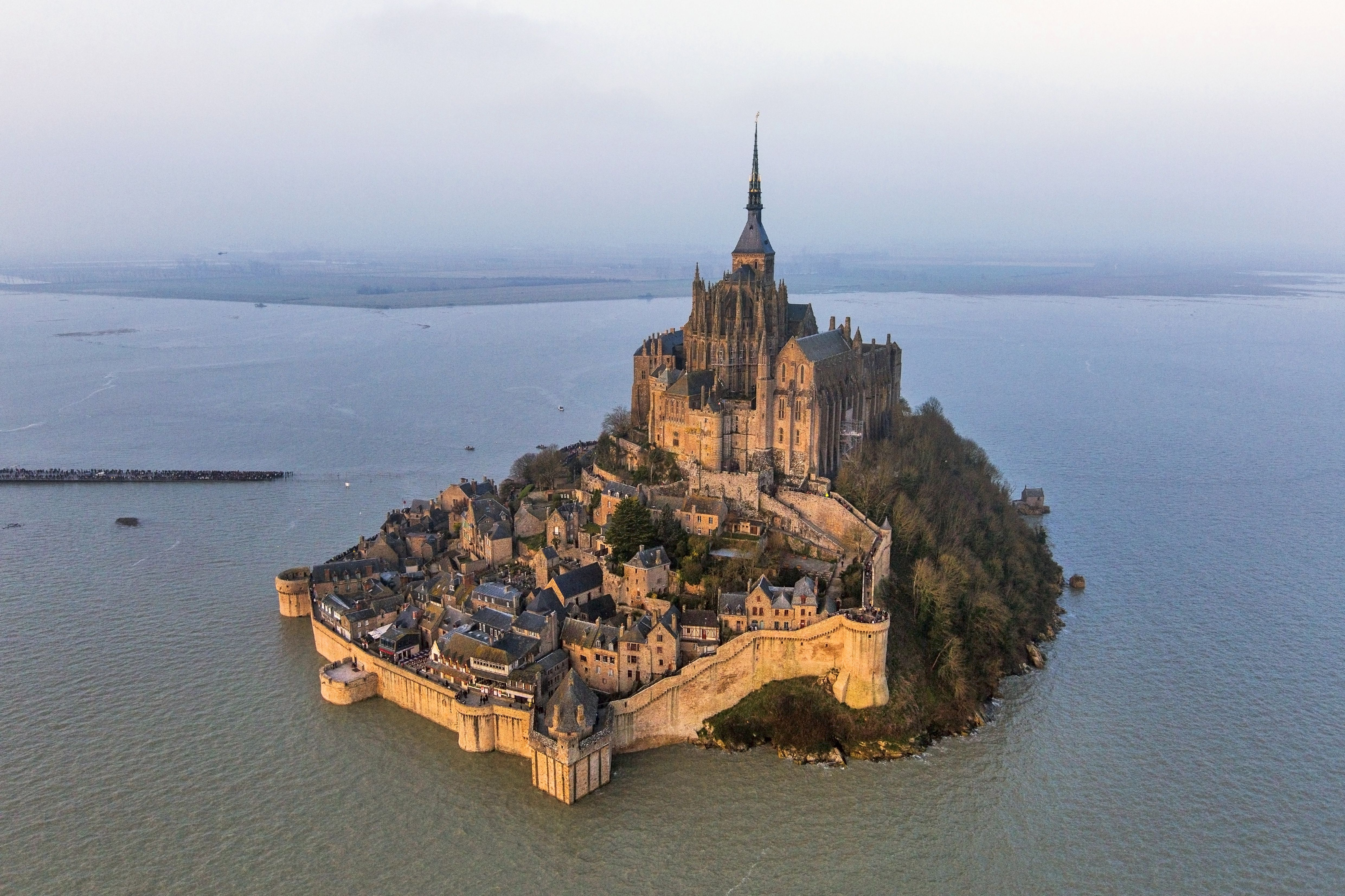 Mont Saint-Michel during the spring tide of March 21, 2015, with the bridge submerged