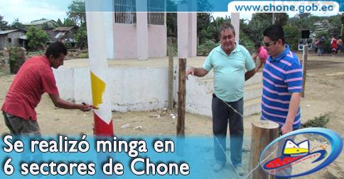 Se realizó minga en 6 sectores de Chone