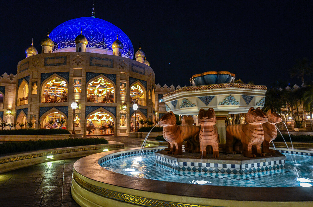Arabian Coast fountain carousel night TDS