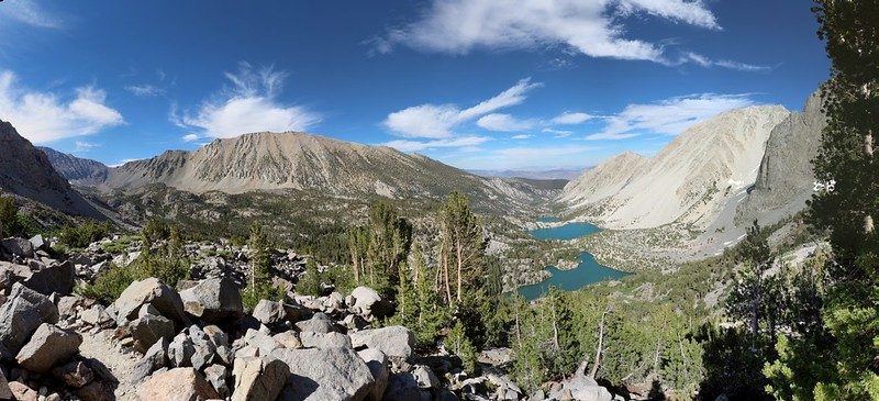 Panorama view of First, Second, and Third Lakes from the Palisade Glacier Trail