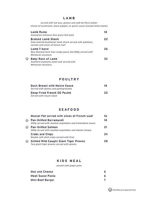 Menu Lamb, Poultry, Seafood