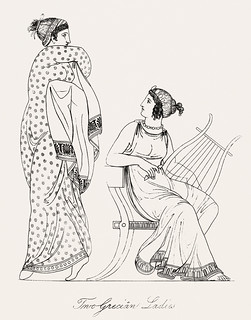 Two Grecian ladies from An illustration of the Egyptian, Grecian and Roman costumes by Thomas Baxter (1782-1821).Digitally enhanced by rawpixel.