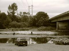 Fishing the Willamette River by the Beltline Bridge in Eugene, Oregon