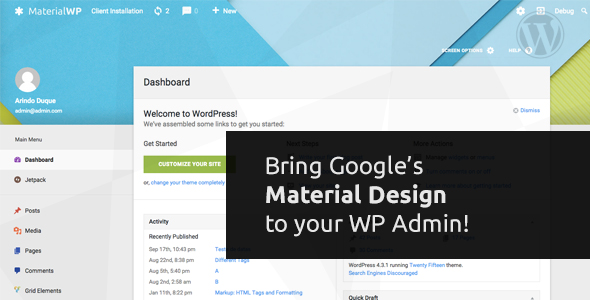 Material WP v1.0.6 - Material Design Dashboard Theme
