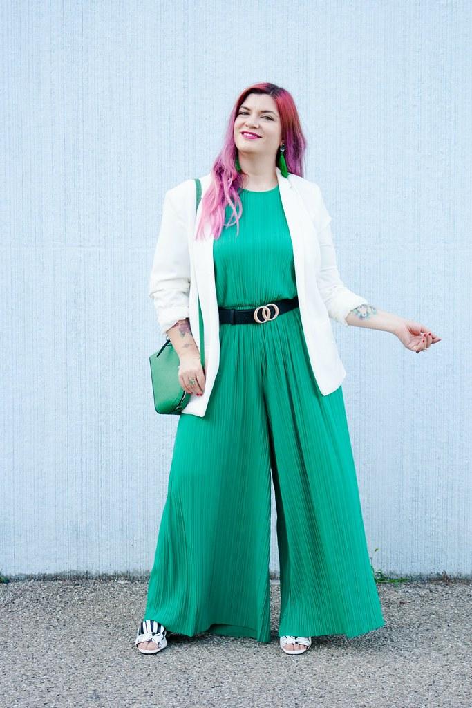 Outfit plus size tuta monki verde e blaze bianco (2)
