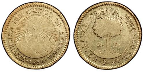 1835 Central America Republic 2 Escudos