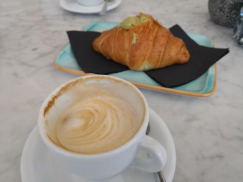 Pistachio croissant and Cappuccino