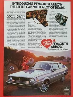 Plymouth Arrow -   Magazine Advertisement - 1977