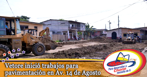 Vetore inició trabajos para pavimentación en Av. 14 de Agosto