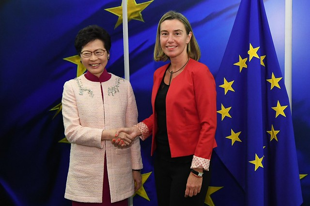 Federica Mogherini and Carrie Lam Cheng Yuet-ngor, Chief Executive of Hong Kong, June 2018